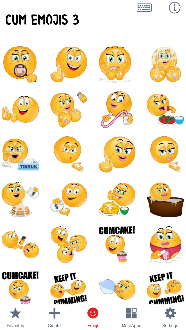 Cum 3 Emoji Stickers