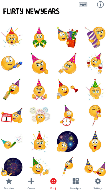 Flirty New Years Emoji Stickers