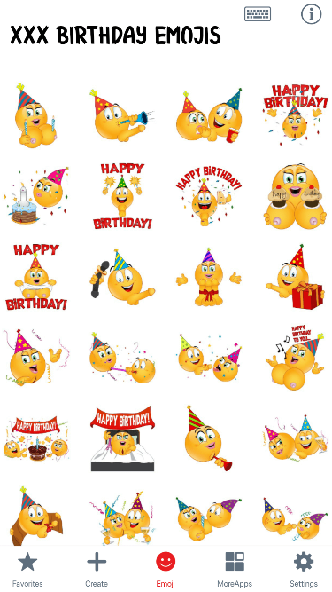 XXX Birthday Emoji Stickers