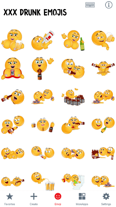 XXX Drunk Emoji Stickers