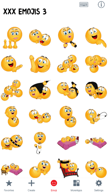 XXX 3 Emoji Stickers
