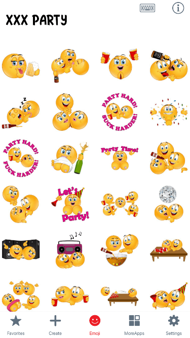 XXX Party Emoji Stickers