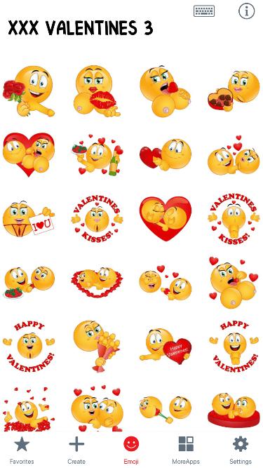 XXX Valentines 3 Emoji Stickers